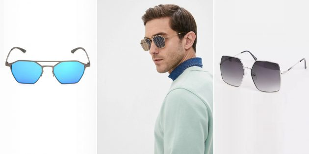 Модные мужские солнцезащитные очки с оправой в виде геометрических фигур