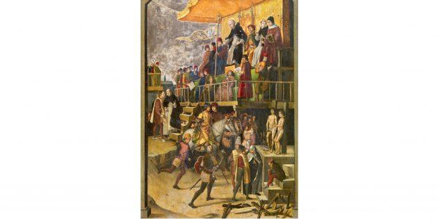 «Святой Доминик председательствует на аутодафе», картина Педро Берругетте