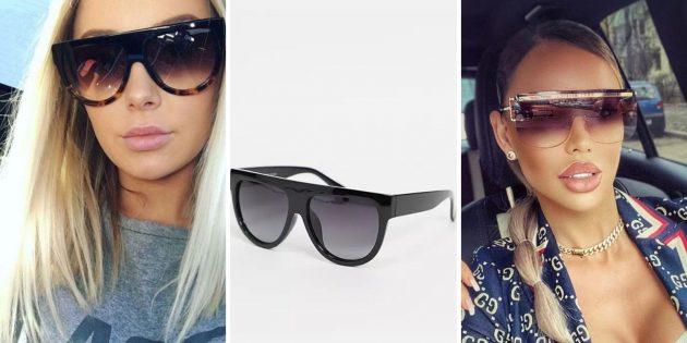 Модные женские солнцезащитные очки — 2021: очки в форме полумесяца