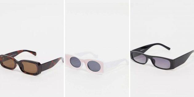 Модные женские солнцезащитные очки — 2021: прямоугольные очки в массивной оправе