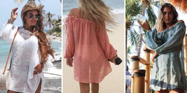 Пляжное платье с пышными рукавами