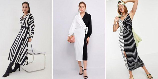 Модные платья лета-2021: платье из чёрного и белого
