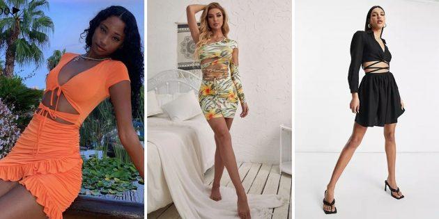 Открытое платье со шнуровкой на талии считается модным летом 2021года