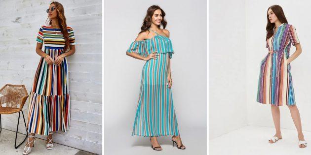 Модное платье в полоску для лета 2021года
