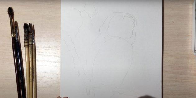 Как нарисовать сову: наметьте ветку и тело совы