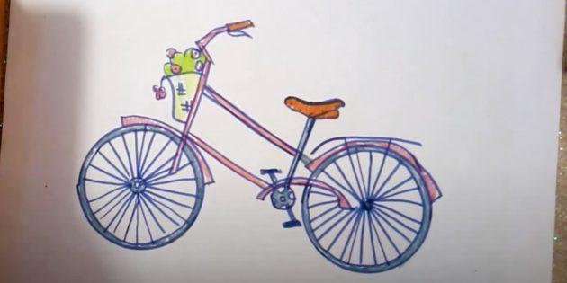 Как нарисовать велосипед: рисунок велосипеда фломастерами