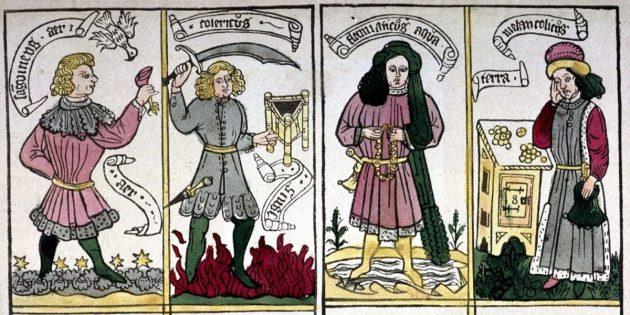 Средневековая медицина: олицетворение четырёх гуморов, германская гравюра, 1460–1470гг.
