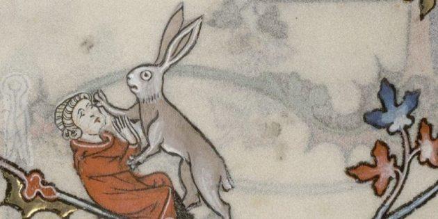 Дети Средневековья: заяц нападает на человека, Бревиарий Рено де Бара