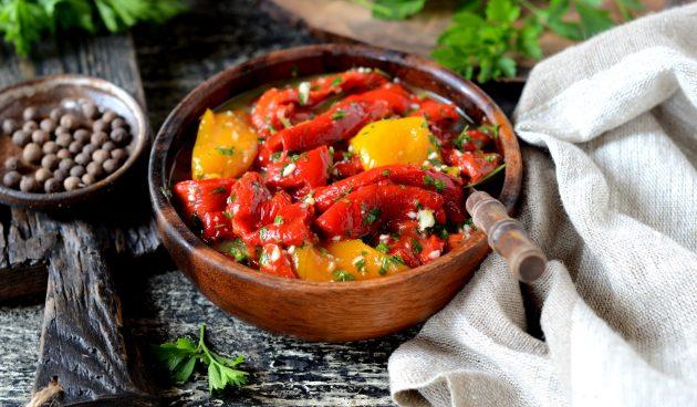 Закуска из болгарских перцев, запечённых на гриле