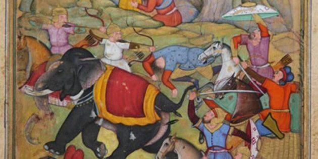 Тамерлан атакует войско султана Дели