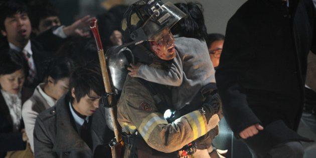 Кадр из фильма про пожарных «Башня»