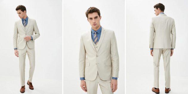 Одежда для торжественных случаев: светлый мужской костюм