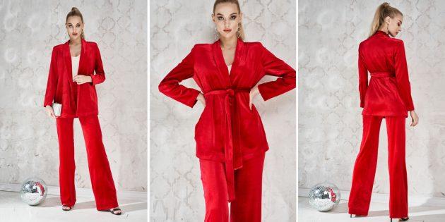 Одежда для торжественных случаев: женский велюровый костюм