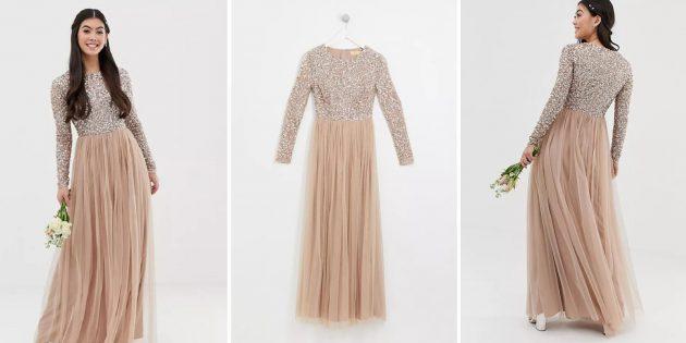 Одежда для торжественных случаев: платье с отделкой пайетками