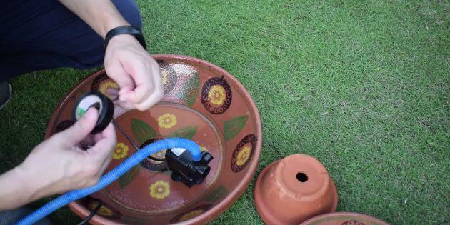Как сделать фонтан своими руками: подключите к насосу шланг