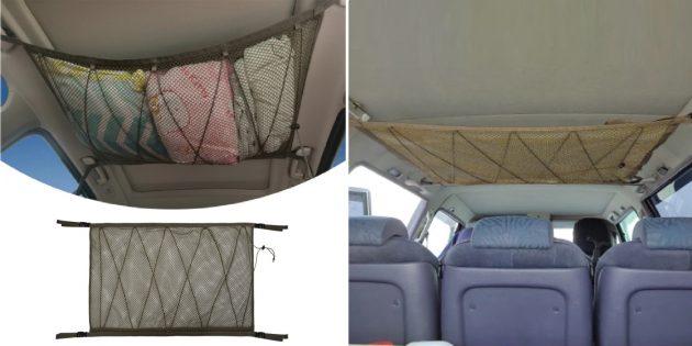 Мелочи для автомобиля: сетка-органайзер под потолок