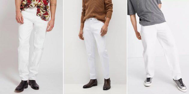 Модные мужские джинсы: белоснежные