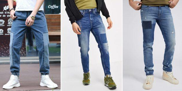 Мужские джинсы с декоративными заплатами