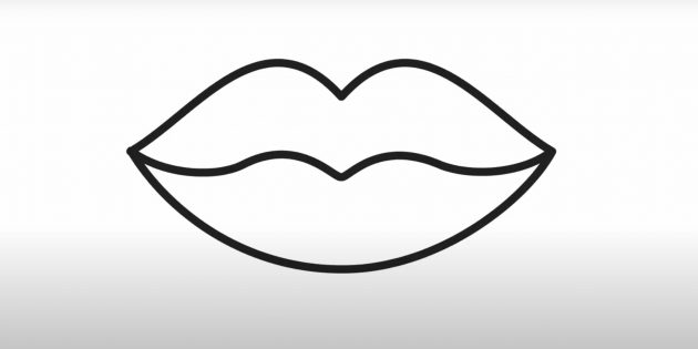 Рисунок губ чёрным маркером