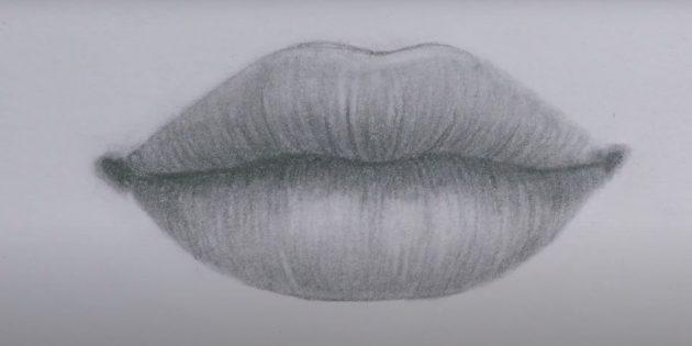 Рисунок губ простым карандашом