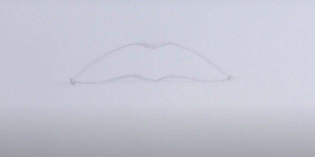 Как нарисовать верхнюю губу
