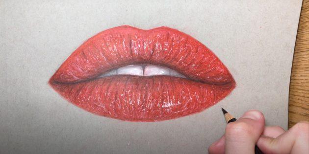 Рисунок губ цветными карандашами