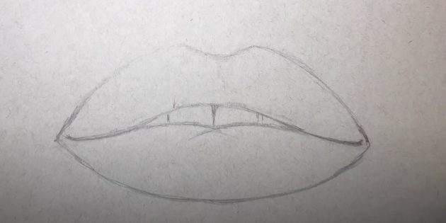 Изобразите нижнюю губу и зубы