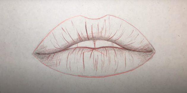 Как рисовать губы: обведите изображение и покажите текстуру