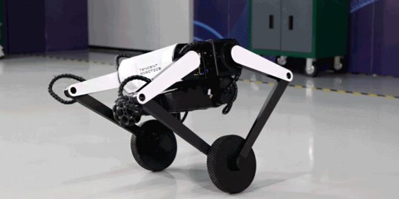 Tencent показала двухколёсного робота, способного преодолевать ступеньки и делать сальто