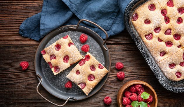 Чешский пирог бубланина с малиной