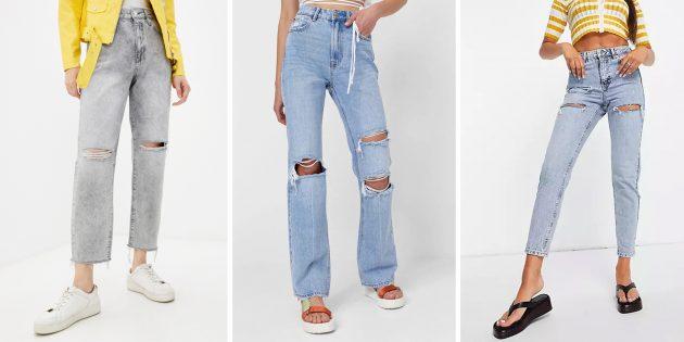 Модные женские джинсы — 2021: с аккуратными потёртостями и разрезами
