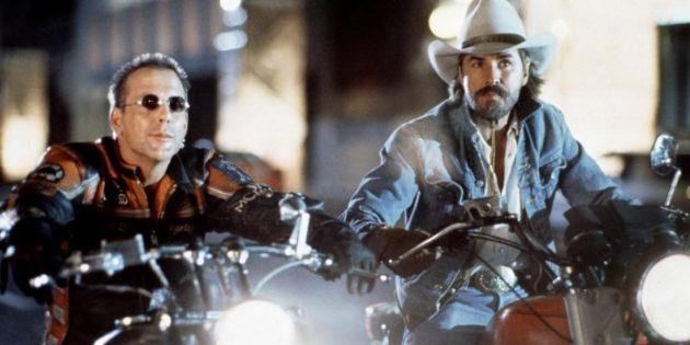Кадр из фильма про байкеров «Харлей Дэвидсон и ковбой Мальборо»