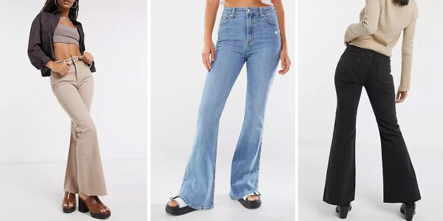 Модные женские джинсы — 2021: клёш