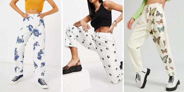 Модные женские джинсы — 2021: джинсы с рисунком или вышивкой
