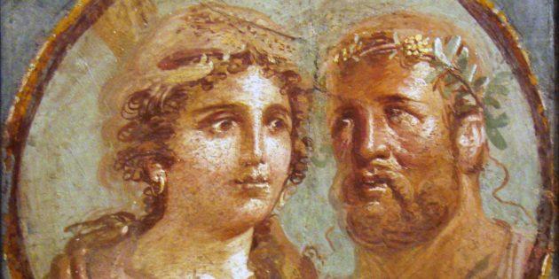 Геракл и Омфала, римская фреска, 45–79гг. н. э.