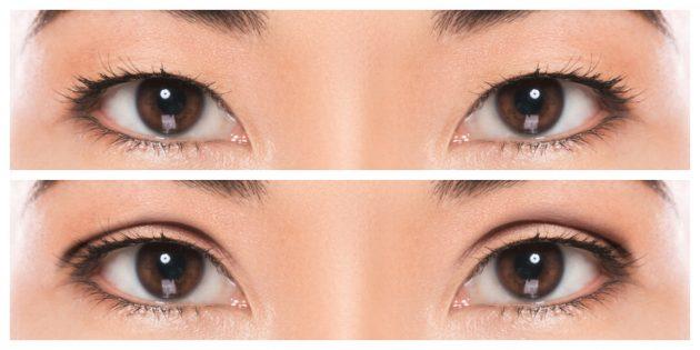 Чтобы определить форму глаз, посмотрите на верхнее веко. Если нет заметной складки, у вас монолидные глаза, если есть — немонолидные