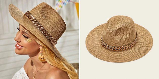 Головные уборы на лето: соломенная шляпа с цепью