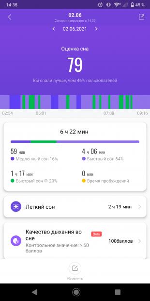Приложение Mi Fit: оценка сна