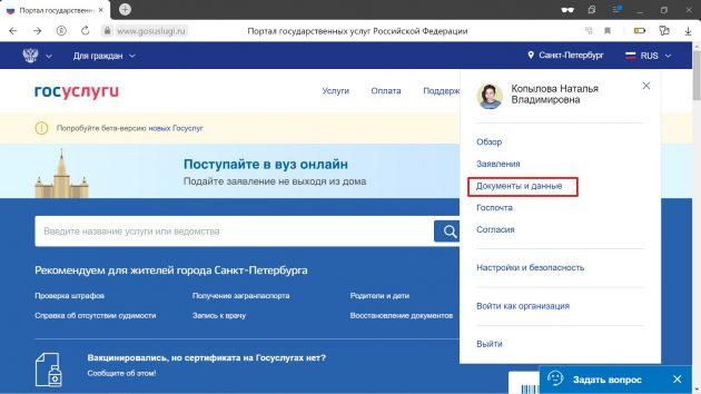 Как указать данные общероссийского или загранпаспорта на «Госуслугах»