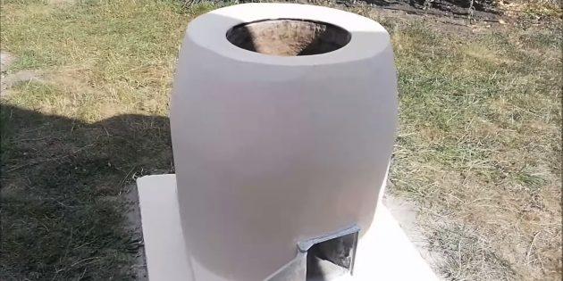 Зауженный цилиндрический тандыр из кирпича