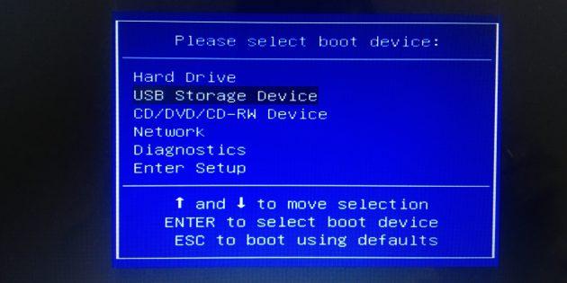 Чтобы настроить в BIOS загрузку с флешки, выберите пункт USB Storage Device