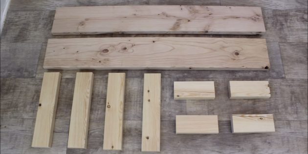 Как сделать скамейку без спинки своими руками: разметьте и распилите более узкий брус на детали