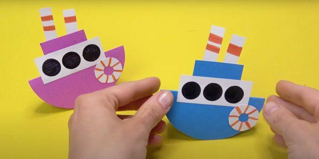 Как сделать кораблик из бумаги: кораблик-неваляшка.