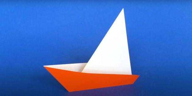 Как сделать кораблик из бумаги: парусный кораблик.