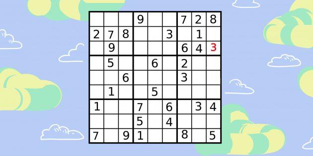 Как решать судоку последовательным способом: найдите ячейку с однозначным вариантом ответа