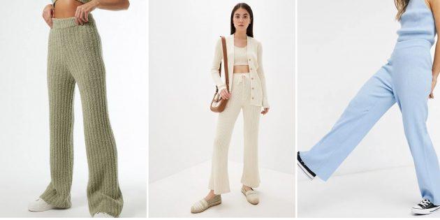 Модные женские брюки — 2021: Вязаные брюки в рубчик