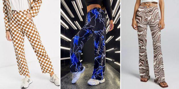 Модные женские брюки — 2021: Брюки с необычным принтами