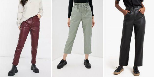 Модные женские брюки — 2021: Широкие брюки из экокожи