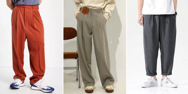 Модные мужские брюки — 2021: Очень широкие брюки