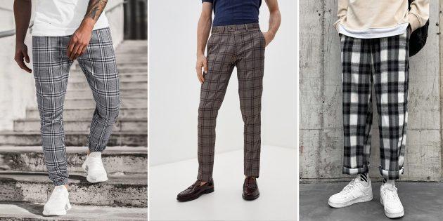 Модные мужские брюки — 2021: Брюки в клетку